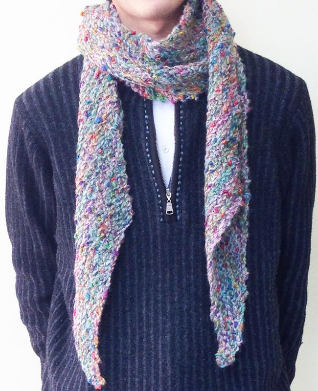 温かな斜め編み」マフラー