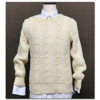クリスマス会・忘新年会の7おしゃれは、棒針編み紳士白セーター