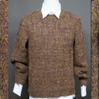 年末のイベントのおしゃれに棒針編みセーター茶