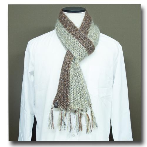 おっしゃれなマフラーうね編み
