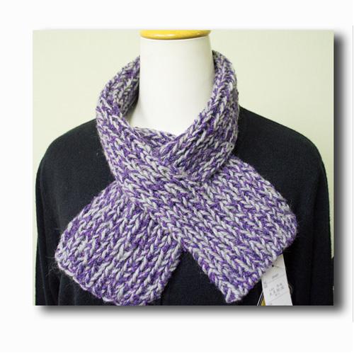 グレイx紫ゴム編みミニマフラー