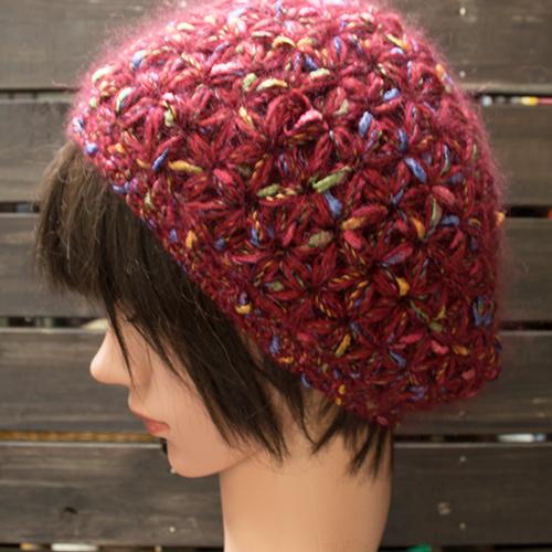 赤シルクモヘヤネップニット帽