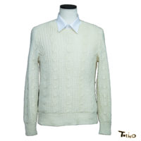 メンズ手編みセーター白