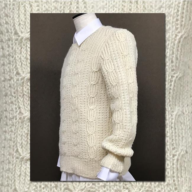 棒針編み紳士の白セーター