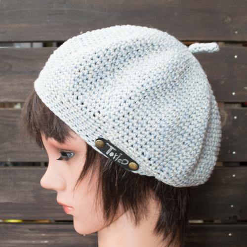 引き揃い糸の立体ベレー帽