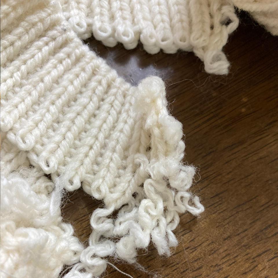 既製品のセーター袖口お直し2